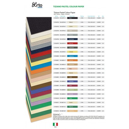 CAMPAP-ARTO 160gms 500x700mm TIZIANO PASTEL COLOUR CARD x 5pcs